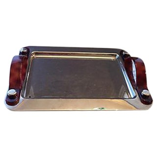 Rectangular Silver Tray With Tortoise Handles