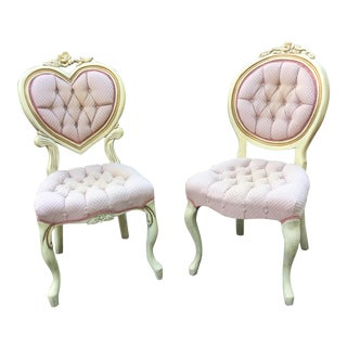 Pink His & Hers Heart Shaped Tufted Parlor Chairs - a Pair