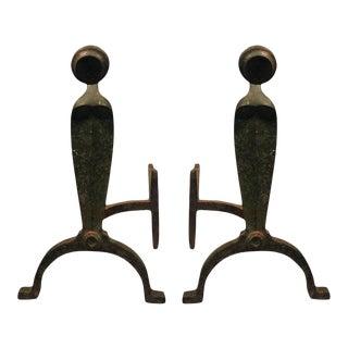 Art Deco Organic Andirons in Bronzed Iron - A Pair