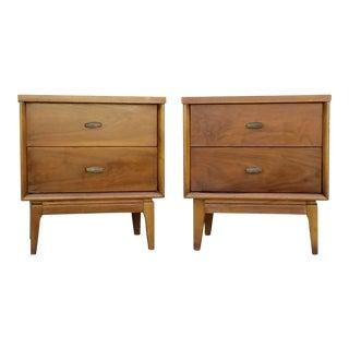 Vintage Mid-Century Double Dresser Nightstands - A Pair