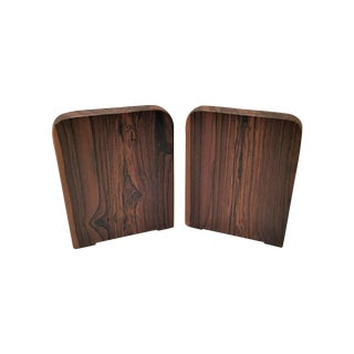 Exotic Walnut Wood Bookends - Pair
