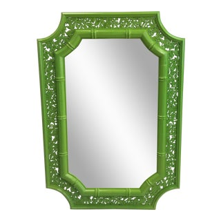 Green Lacquered Octagonal Faux Bamboo Mirror
