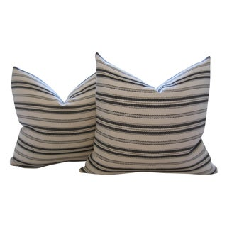 Woven Ticking Stripe Pillows - A Pair