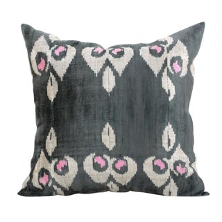 Gray Silk Velvet Accent Pillow