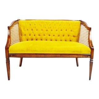 Vintage Bergere Cane Settee with Hepplewhite Style Legs