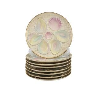 1887 Royal Worcester Iridescent Blush Porcelain Oyster Plates - Set of 8