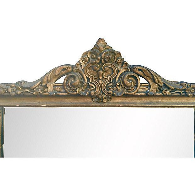 Antique Carved Wood Mantel Mirror - Image 5 of 7
