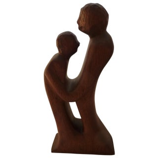 Mid-Century Carved Lovers Sculpture