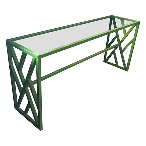 Image of Hollywood Regency Green Metal Console/Sofa Table