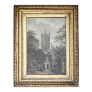 """In the Baptistery Jadin, Canterbury Cathedral"" Signed Antique Painting"