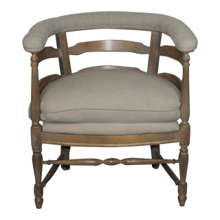Linen Upholstered Barrel Back Chair