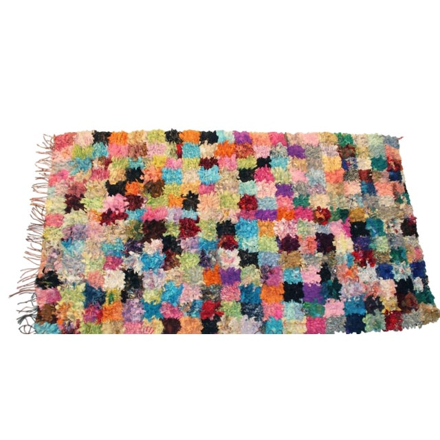 "Vintage Boucherouite Moroccan Carpet - 8'10"" X 5'4"" - Image 1 of 3"