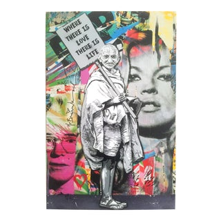 "Mr. Brainwash "" Gandhi "" Original Lithograph Print Pop Art Poster"