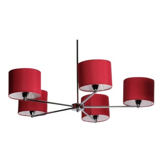 Red Fabric Shade Chandelier