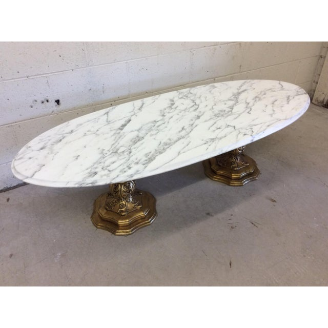 Fuggiti Studios Italian Carrara Marble & Gold Gilt Coffee Table - Image 9 of 11