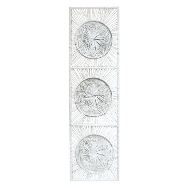 Boho Chic White Wicker Wall Decor - Image 1 of 4