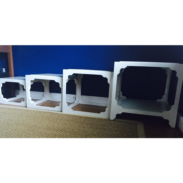 White Lacquered Stacking Cube Tables - Set of 4 - Image 4 of 9