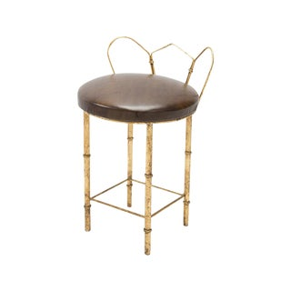 Gilded Faux Bamboo Vanity Stool