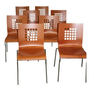 Contemporary Cherry Dining Chairs - Set of 8