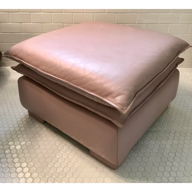 Lilac Leather Ottoman - Image 2 of 3