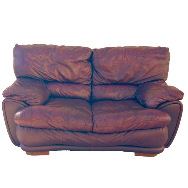 Klaussner Overstuffed Bonded Leather Loveseat - Image 5 of 10