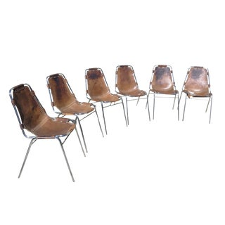 Charlotte Perriand Les Arcs Steel & Leather Chairs - Set of 6