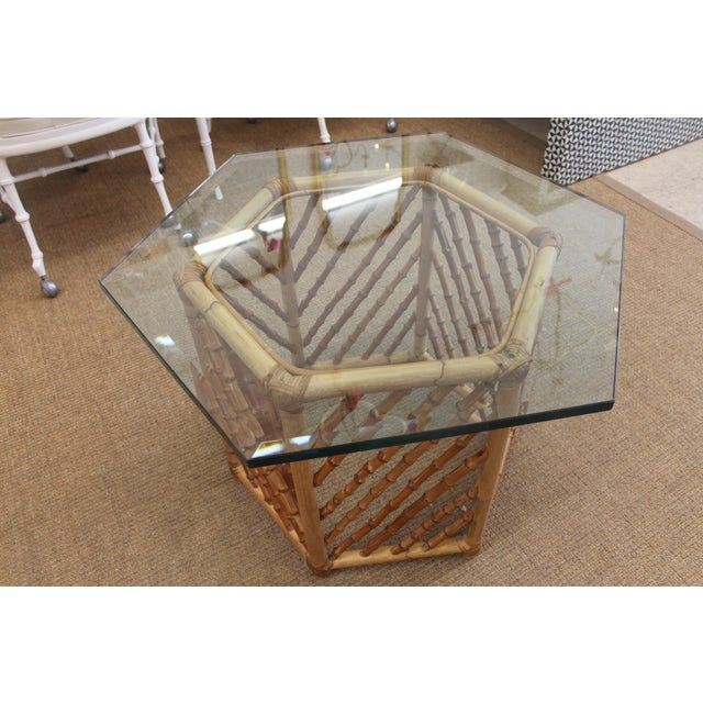 Bamboo Glass Top Table - Image 2 of 5