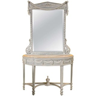 Swedish Style Marble Top Gray Console with Mirror