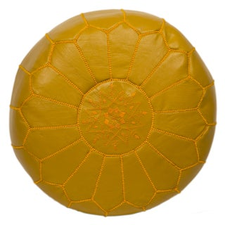 Embroidered Leather Pouf - Mustard on Mustard