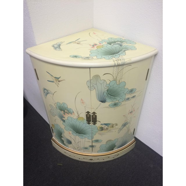 Asian White Lacquer Hand-Painted Corner Cabinet - Image 6 of 6