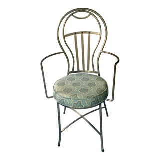 Vintage Brushed Steel French Balloon Back Armchair