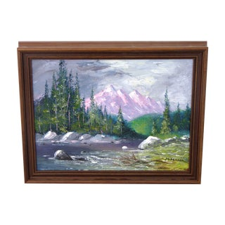 Signed Landscape Oil Painting of a Mountain Valley