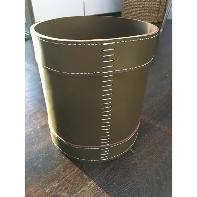 Image of Arte & Cuoio Leather Waste Basket