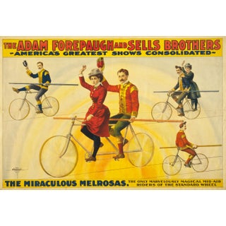 Late 19th-C. Bicycle Tight Rope Riders Print