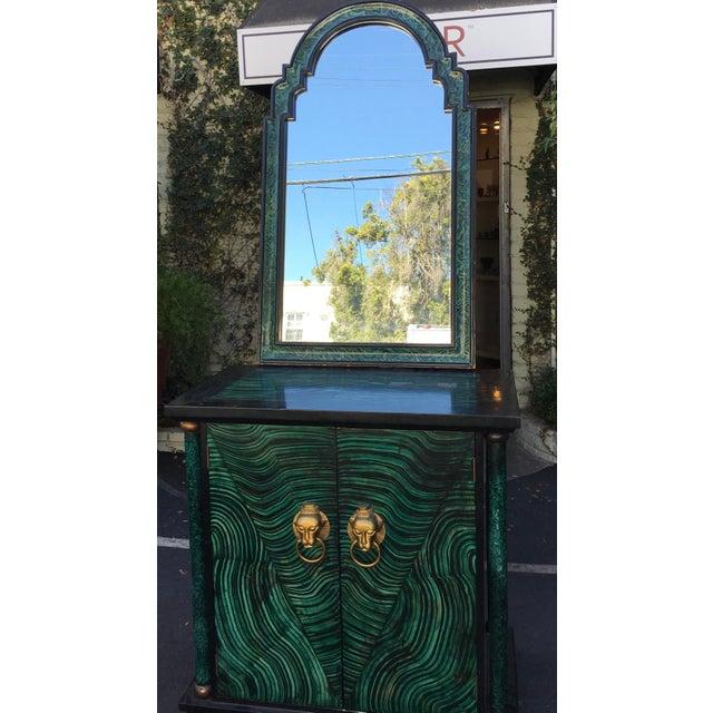 Vintage Mid Century Modern Faux Malachite Cabinet & Mirror - Image 3 of 8