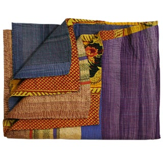 Rug & Relic Purple Color Block Kantha Quilt