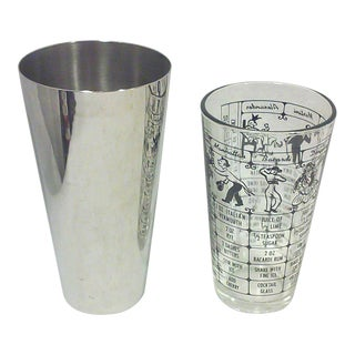 Vintage Stainless Cocktail Shaker and Recipe Glass - A Pair