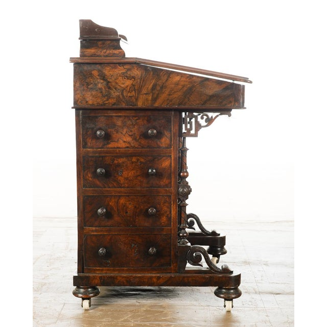 19th C. Burl Walnut Victorian Davenport Desk - Image 9 of 10