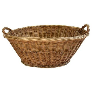 Early 1900s French Woven Wicker Market Basket