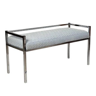 Marc Jacobs Ruffle Velvet Upholstered Chrome Bench