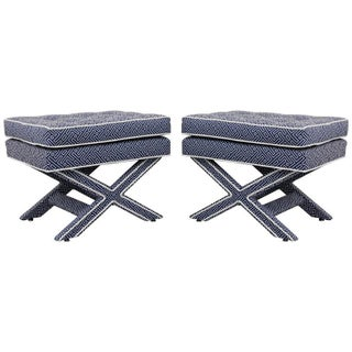 Billy Baldwin Mid-Century X Base Ottomans Stools - a Pair