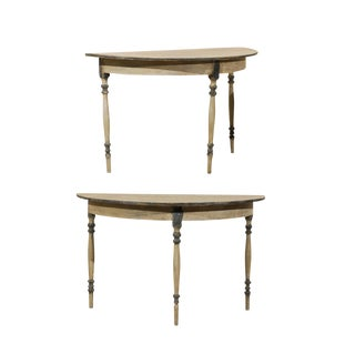 A Pair of Swedish Wood Demi-Lunes Tables