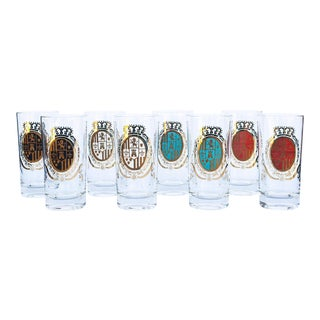 Vintage Crest Cocktail Glasses - Set of 8