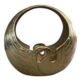 Art Deco Brass Swan Planter Basket