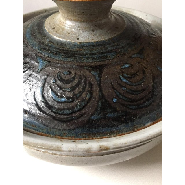 Image of Signed Gerry Williams Mid-Century Stoneware Lidded Bowl