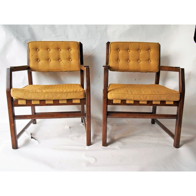 Golden Mid-Century Tufted Chairs - Pair - Image 2 of 6