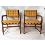 Image of Golden Mid-Century Tufted Chairs - Pair