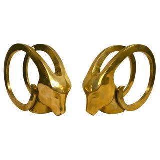 Brass Art Deco Ibex Bookends - Pair