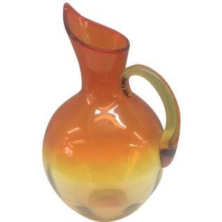 Tangerine Blenko Amberina Pitcher Vase
