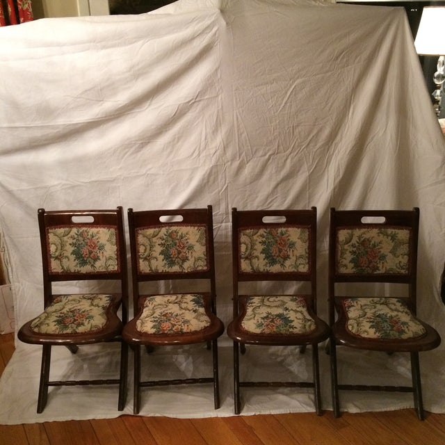 Vintage Victorian Style Campaign Parlor Chairs - Set of 4 - Image 2 of 11